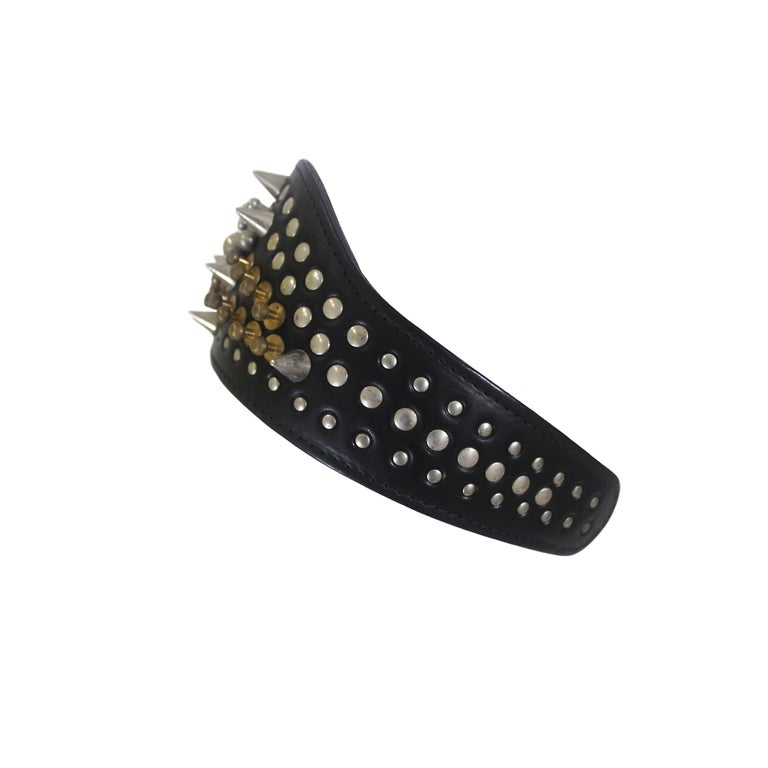 Comme des Garcons Homme Plus Fleet Ilya Leather Studded Headband 2013 In Excellent Condition For Sale In Bath, GB