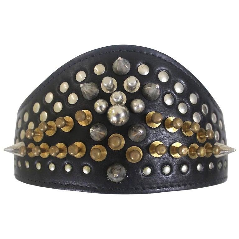 Comme des Garcons Homme Plus Fleet Ilya Leather Studded Headband 2013 For Sale