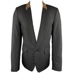 COMME des GARCONS HOMME PLUS M Black Leopard Trim Shawl Collar Sport Coat