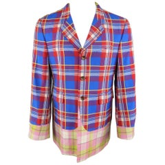 COMME des GARCONS HOMME PLUS M Blue Red Pink & Green Mixed Plaid Wool Sport Coat