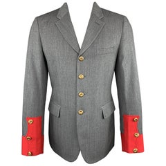COMME des GARCONS HOMME PLUS M Grey Wool Red Cuff Military Jacket