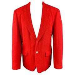 COMME des GARCONS HOMME PLUS M Red Textured Cotton Notch Lapel Sport Coat $650.0