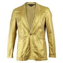 Comme Des Garcons Homme Plus Men's Gold Cotton Raw Edge Blazer Jacket, 2006