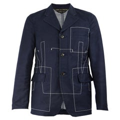 Comme Des Garcons Homme Plus Men's Vintage Navy Blue Blazer Jacket, AD 2003