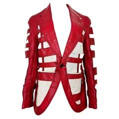 Comme des Garcons Homme Plus Red Leatherette Cage Jacket AD 2010
