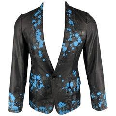 COMME des GARCONS HOMME PLUS S Black Blue Splattered Paint Wool Blend Sport Coat