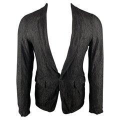 COMME des GARCONS HOMME PLUS S Black Lace Polyester / Rayon Notch Lapel Jacket