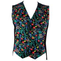 COMME des GARCONS HOMME PLUS Size L Black & Multi-Color Floral Wool Vest
