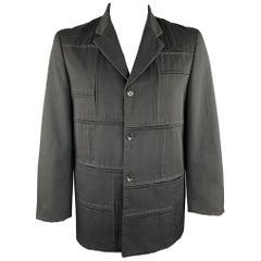 COMME des GARCONS HOMME PLUS Size L Black Patchwork Wool Jacket
