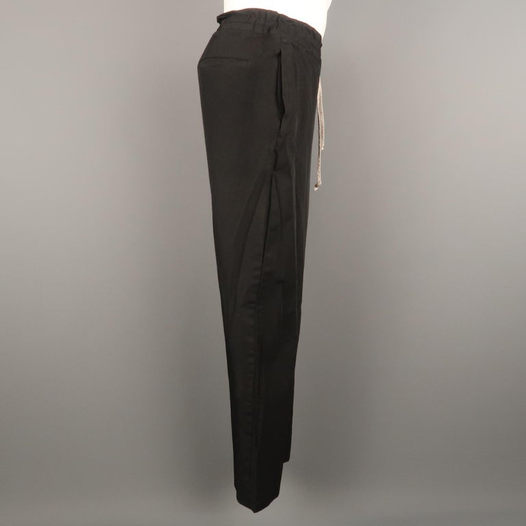 COMME des GARCONS HOMME PLUS Size L Black Solid 30 Drawstring Casual Pants In Excellent Condition For Sale In San Francisco, CA
