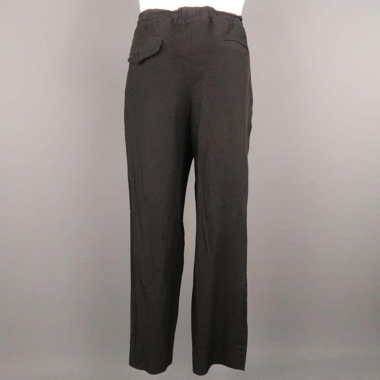 Men's COMME des GARCONS HOMME PLUS Size L Black Solid 30 Drawstring Casual Pants For Sale