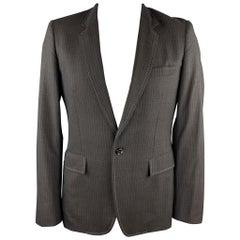 COMME des GARCONS HOMME PLUS Size L Charcoal Vertical Stripe Wool Sport Coat