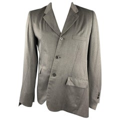 COMME des GARCONS HOMME PLUS Size L Grey & Blue Nailhead Wool / Polyester Coat