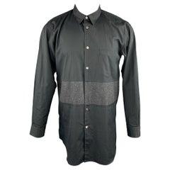 COMME des GARCONS HOMME PLUS Size M Black Charcoal Stripe Panel Dress Shirt