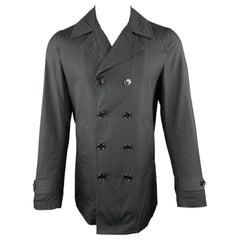 COMME des GARCONS HOMME PLUS Size M Black Cotton Double Breasted Coat