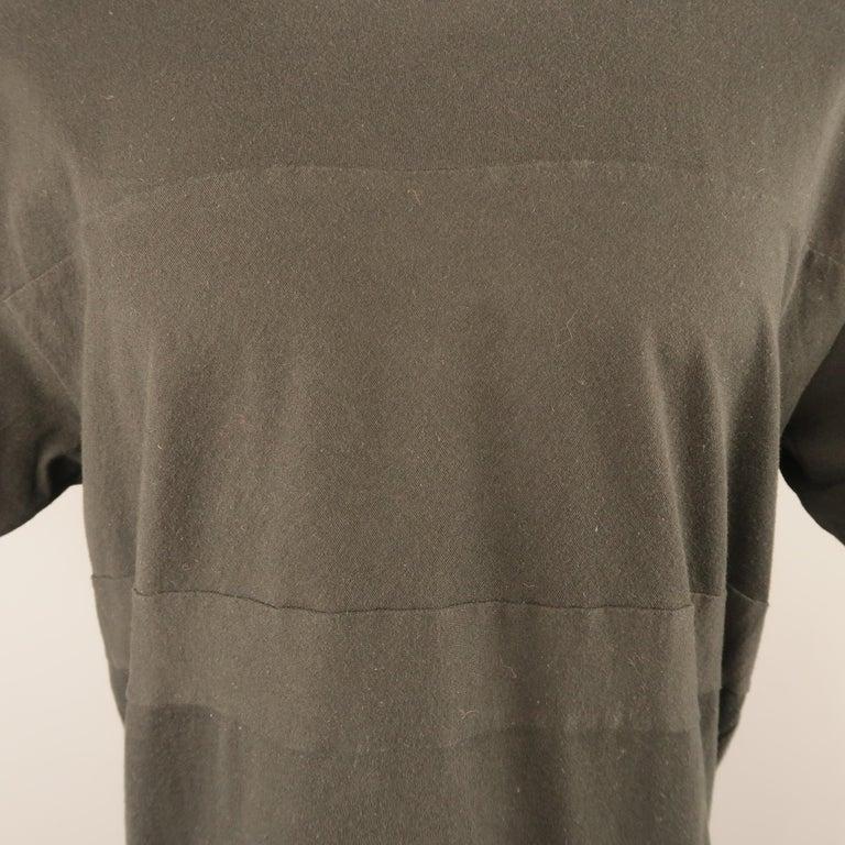 006c8662e4d COMME des GARCONS HOMME PLUS Size M Black Cotton Stripe Seam Crew-Neck T-