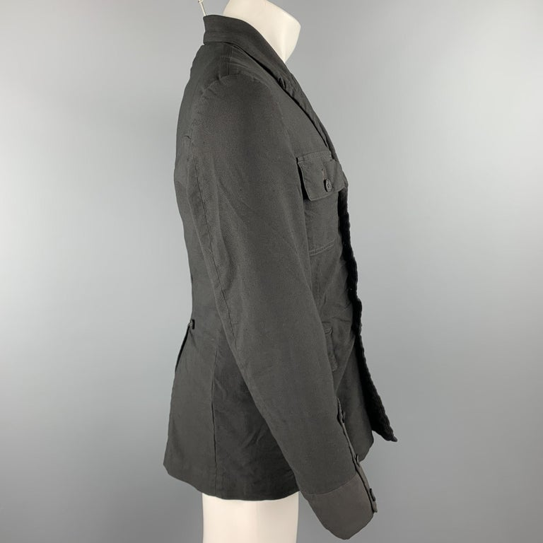 COMME des GARCONS HOMME PLUS Size M Black Linen / Polyester Peak Lapel Jacket In Good Condition For Sale In San Francisco, CA