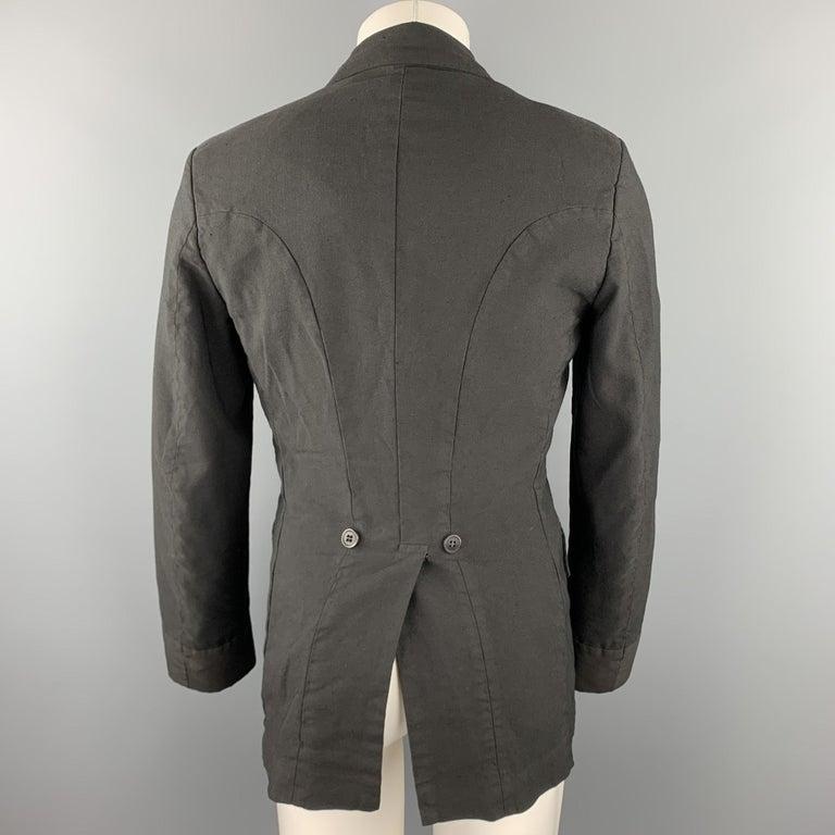 Men's COMME des GARCONS HOMME PLUS Size M Black Linen / Polyester Peak Lapel Jacket For Sale