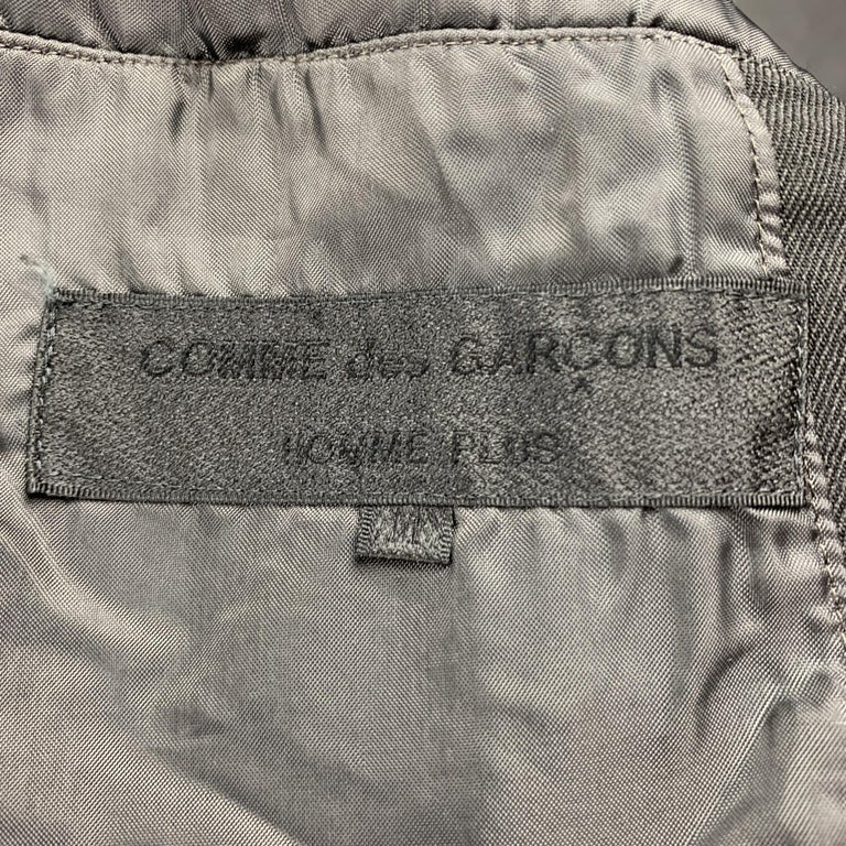 COMME des GARCONS HOMME PLUS Size M Black Linen / Polyester Peak Lapel Jacket For Sale 1