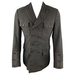 COMME des GARCONS HOMME PLUS Size M Black Linen / Polyester Peak Lapel Jacket