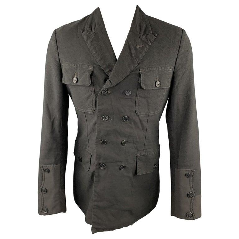 COMME des GARCONS HOMME PLUS Size M Black Linen / Polyester Peak Lapel Jacket For Sale