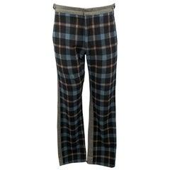 COMME des GARCONS HOMME PLUS Size M Charcoal Navy Plaid Panel Jeans