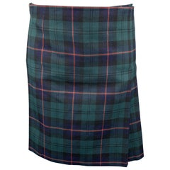 COMME des GARCONS HOMME PLUS Size M Green & Navy Plaid Wool Pleated Skirt Shorts