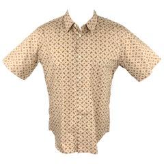 COMME des GARCONS HOMME PLUS Size M Khaki Paisley Cotton Short Sleeve Shirt