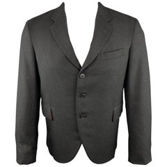 COMME des GARCONS HOMME PLUS Size M Metallic Black Wool Cropped Jacket