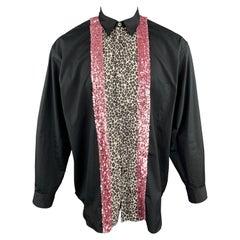 COMME des GARCONS HOMME PLUS Size S Black Cotton Leopard & Pink Sequin Shirt