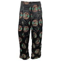 COMME des GARCONS HOMME PLUS Size S Black & Gold Rayon / Polyester Pants