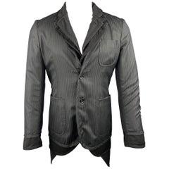COMME des GARCONS HOMME PLUS Size S Black Mixed Fabrics Wool Blend Coat