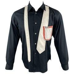 COMME des GARCONS HOMME PLUS Size S Black & White Patchwork Long Sleeve Shirt