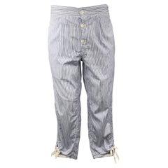 COMME des GARCONS HOMME PLUS Size S Blue Striped Cotton Button Fly Tie Pants