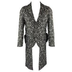COMME des GARCONS HOMME PLUS Size S Grey & Black Jacquard Coat
