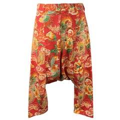 COMME des GARCONS HOMME PLUS Size S Red Dragon Print Drop Crotch Pants