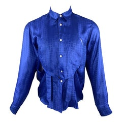 COMME des GARCONS HOMME PLUS Size S Royal Blue Window Pane Button Up Shirt