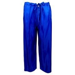 COMME des GARCONS HOMME PLUS Size S Royal Blue Window Pane Drawstring Pants