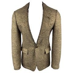 COMME des GARCONS HOMME PLUS Size S Tweed Gold Wool / Nylon Sport Coat