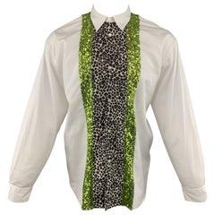 COMME des GARCONS HOMME PLUS Size S White Cotton Leopard & Green Sequin Stripe S