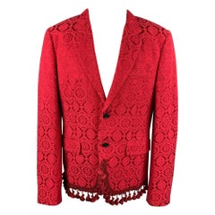 COMME des GARCONS HOMME PLUS Size XL Red Jacquard Cotton Blend Jacket