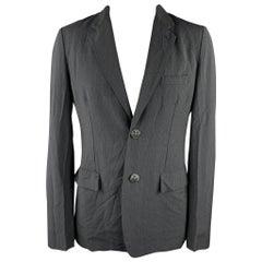 COMME des GARCONS HOMME PLUS Size XL Slate Vertical Stripe Wool Blend Sport Coat