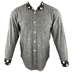 COMME des GARCONS HOMME PLUS XS Gray Cotton Polka Dots Trim Long Sleeve Shirt