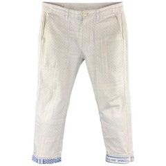COMME des GARCONS HOMME Size S White & Blue Reverse Fabric Cotton 28 Pants AD200