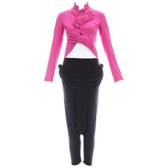 Comme des Garcons hot pink and black lycra jacket and harem pants set, ca. 2007