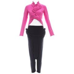 Comme des Garcons hot pink and black lycra jacket and harem pants set, ca. 2007