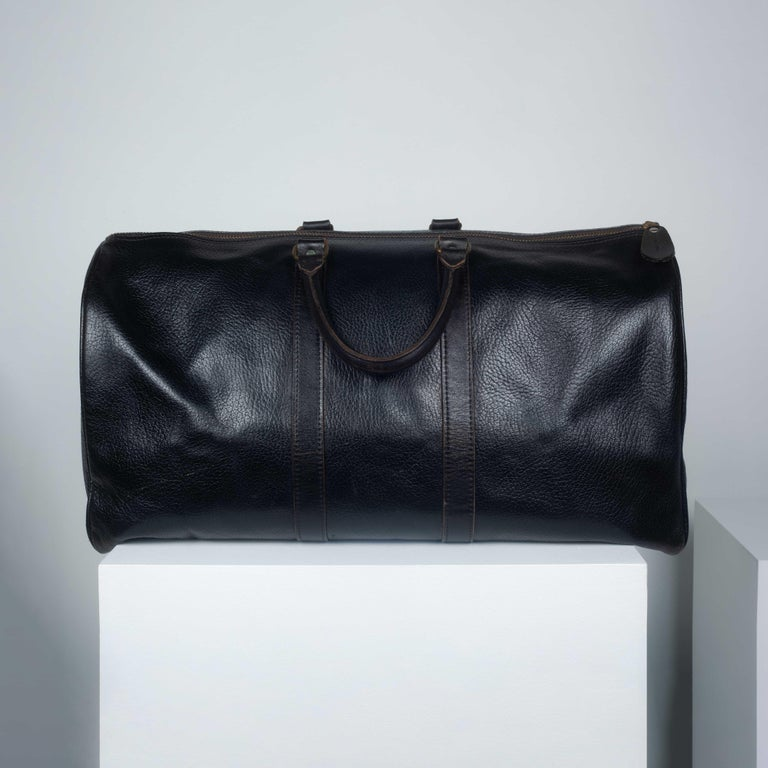 Comme des Garçons Large Black Leather Boston Bag In Good Condition In Chicago, IL