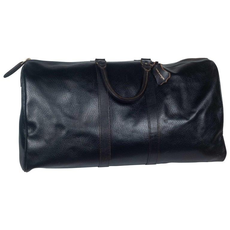 Comme des Garçons Large Black Leather Boston Bag