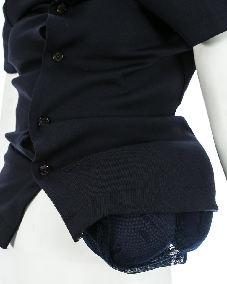 Comme des Garcons 'Lumps and Bumps' navy wool padded jacket, ca. 1997 In Good Condition For Sale In Chester, Chester