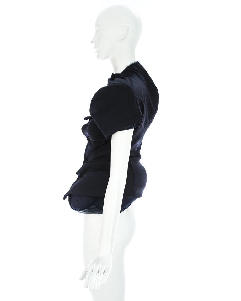 Women's Comme des Garcons 'Lumps and Bumps' navy wool padded jacket, ca. 1997 For Sale